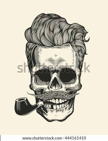 Hipster skull silhouette with mustache beard and tobacco pipes sticker that