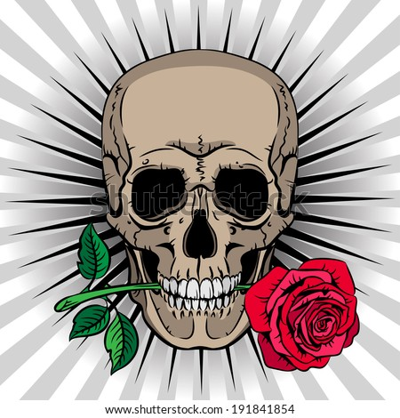 Skull holding a rose in his mouth on striped background - stock vector