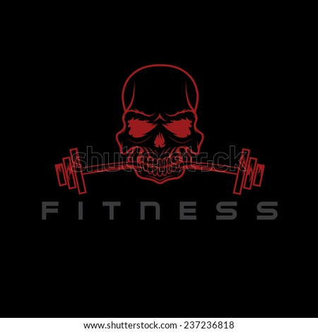 skull holding barbell in the teeth - stock vector