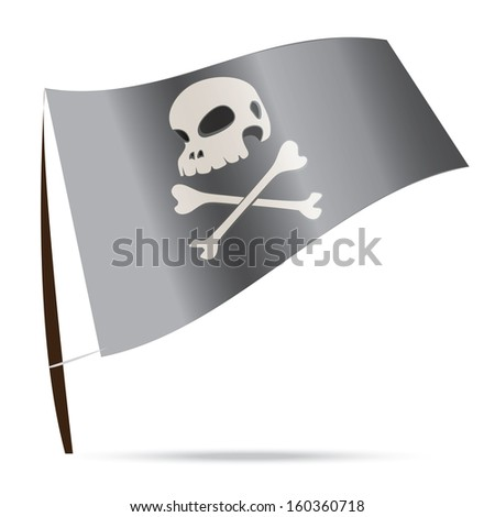 skull human pirate flag isolated