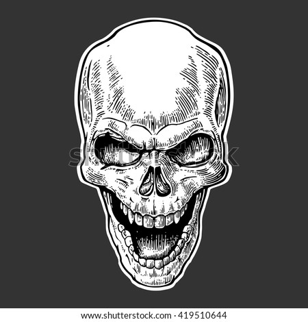 Skull human with a smile. Black vintage vector illustration. For poster and tattoo biker club. Hand drawn design element isolated on dark background - stock vector