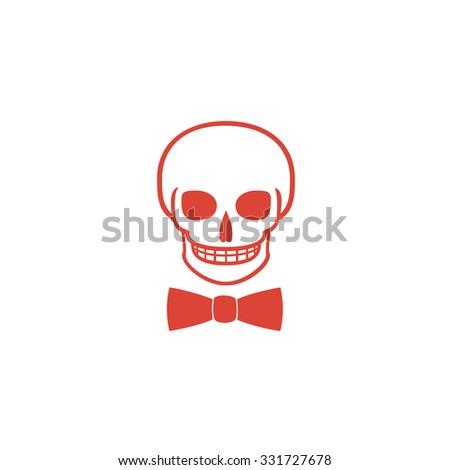 Skull icon isolated, tie. Flat design style eps 10 - stock vector