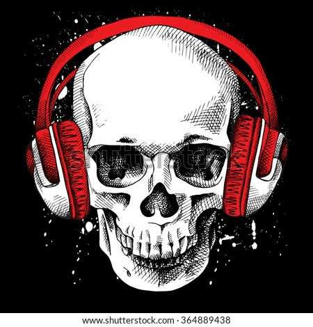 Skull in a headphones on a black background. Vector illustration. - stock vector