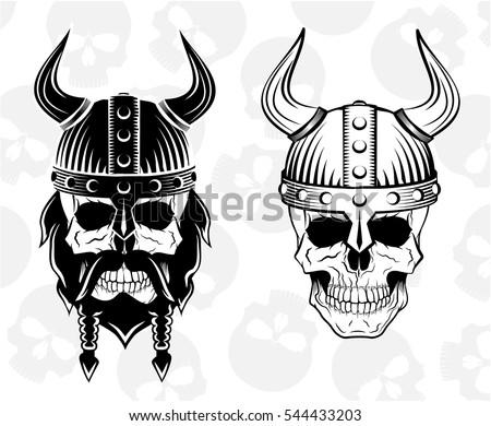 Skull Viking Helmet Set Vector Illustration Stock Vector HD (Royalty ...