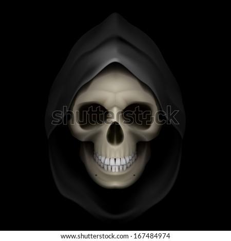 Skull in black hood as image of death. Grim Reaper.  - stock vector