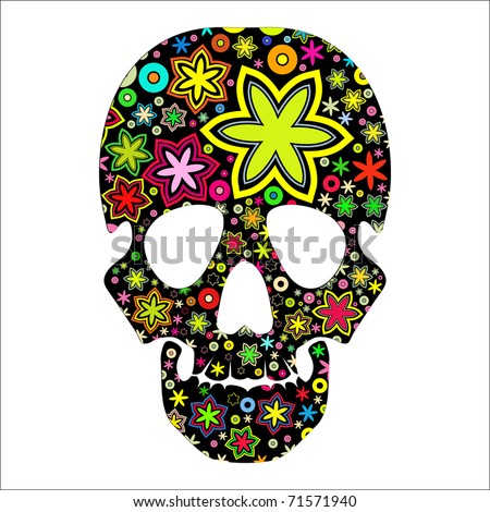 skull in flowers, isolated on black - stock vector