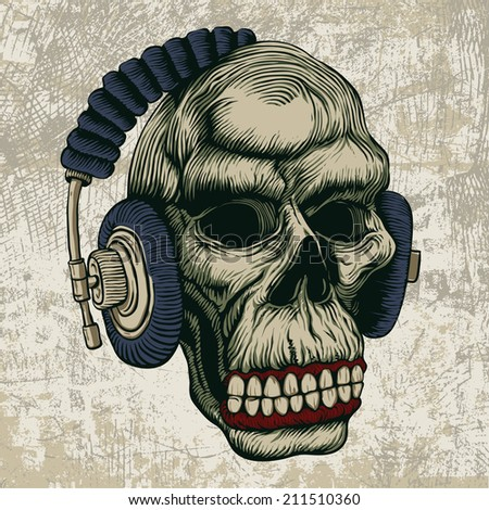 skull in headphones. vector illustration - stock vector