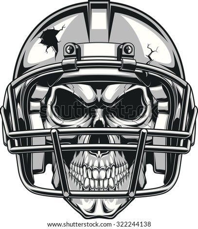 Skull in helmet - stock vector