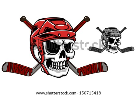 Skull in ice hockey helmet with crossed sticks or idea of logo. Jpeg version also available in gallery - stock vector