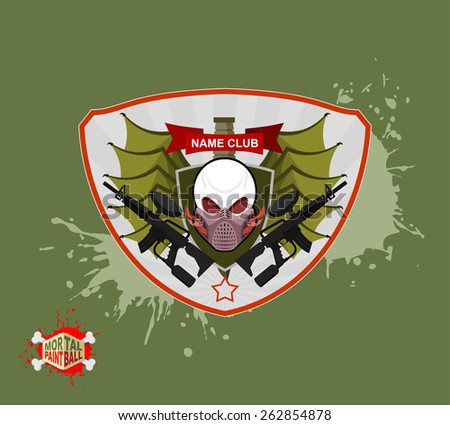 skull in paintball  mask, paintball guns. Wings, arms and flame. Emblem  paintball club - stock vector
