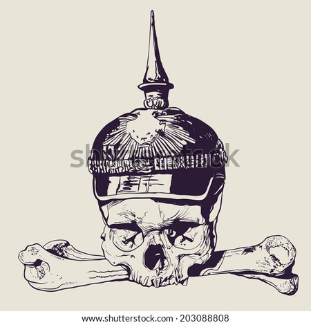 Skull in War helmet and crossbones. drawing style. vector illustration  - stock vector