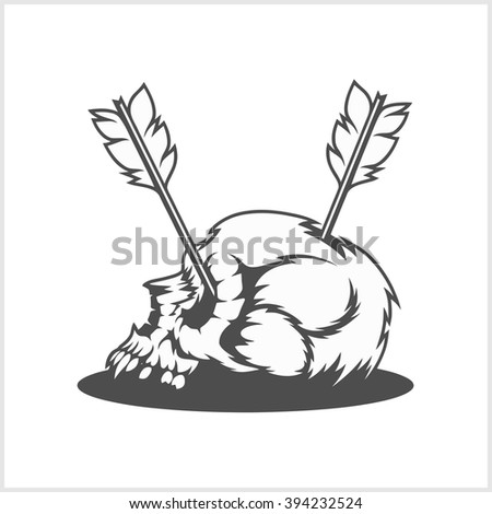 skull is pierced by arrows - vector isolated illustration.