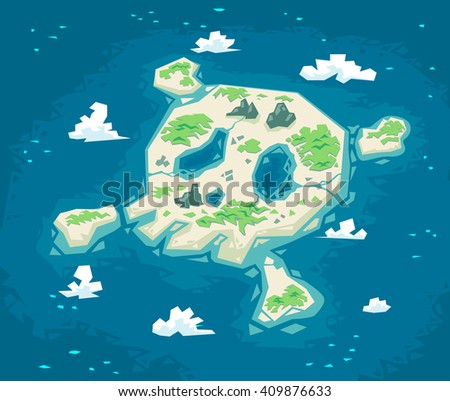 Skull island, Vector illustration.