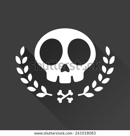 Skull logo illustration with laurel vine accents and crossbones