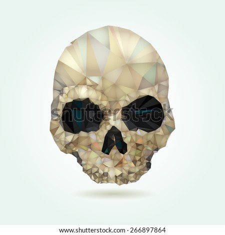 Skull low poly crystal vector - stock vector