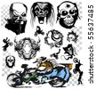 Skull motorcycle graffiti vector art - stock vector