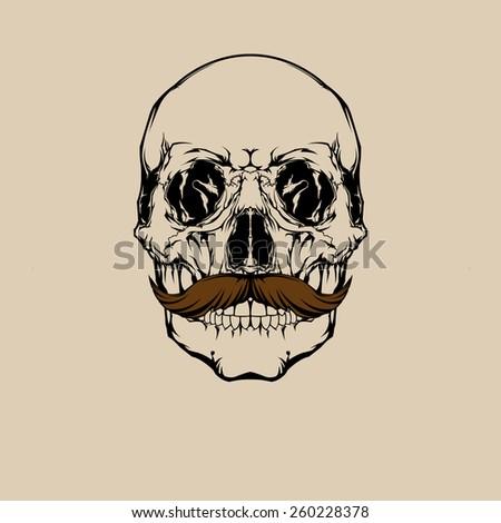 Skull mustache. - stock vector