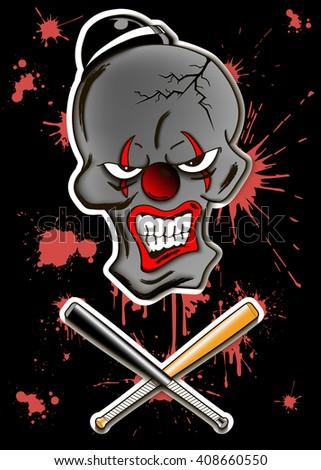 Skull of a dead evil clown in hat. Vector illustration - stock vector