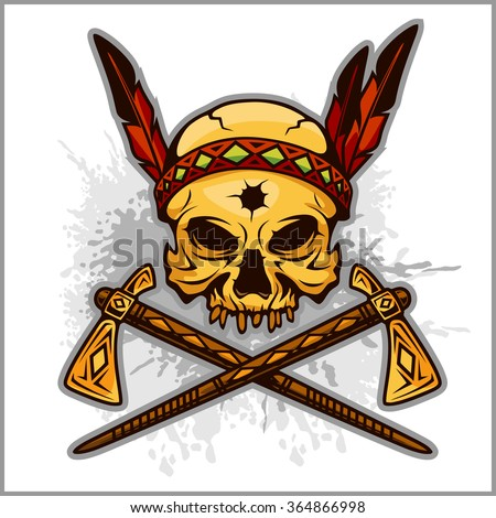 Skull of an Indian warrior vector illustration. War paint and native American. - stock vector