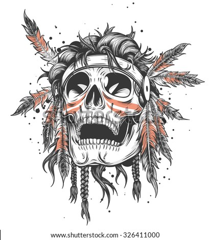 Skull of an indian warrior vector illustration. War paint and native american feathers headwear. Isolated on white. - stock vector