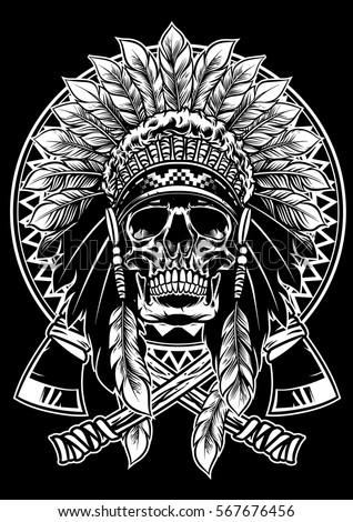 skull native american warrior tomahawk stock vector 567676456 shutterstock. Black Bedroom Furniture Sets. Home Design Ideas