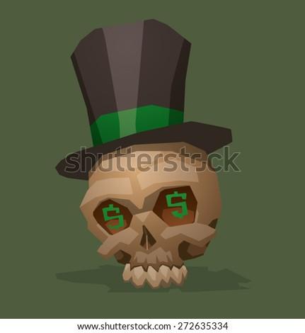 Skull of the capitalist, vector - stock vector