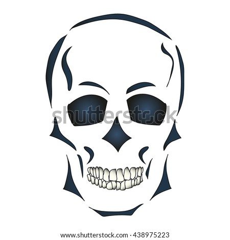 Skull on a white background. Hand drawn. Vector illustration. Isolated vector object.