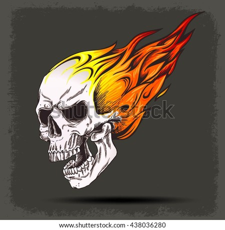 Skull on fire vector icon on stock vector 438036280 shutterstock skull on fire vector icon on grunge background isolated voltagebd Choice Image