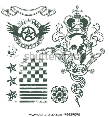 Skull Ornament design set - stock vector