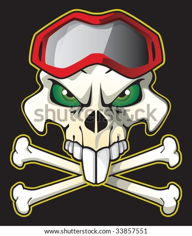 Skull pirate style with biker glasses. - stock vector