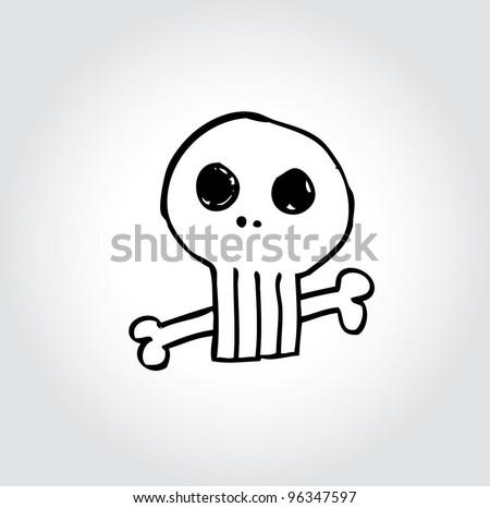 skull retro cartoon doodle, vector illustration - stock vector