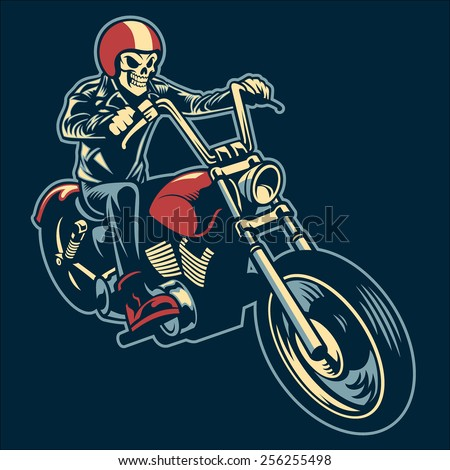 skull ride a big motorcycle - stock vector
