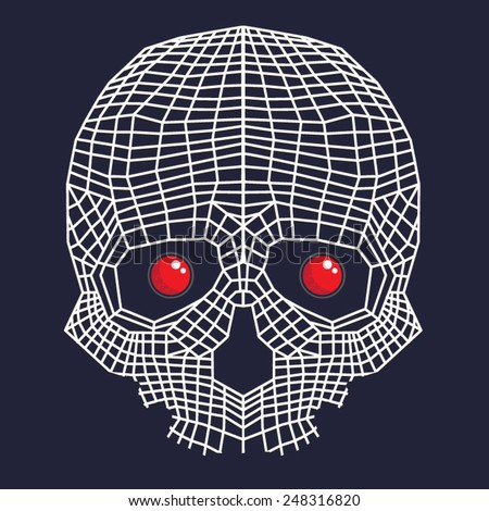 Skull robot red eyes illustration, t-shirt graphics, vectors - stock vector