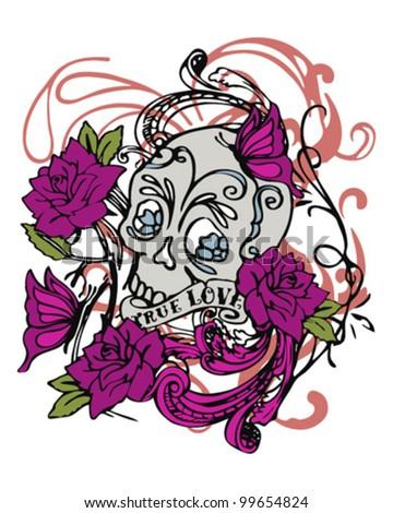skull roses tatos - stock vector