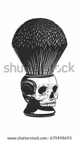 skull shaving brush stock vector 670498693 shutterstock