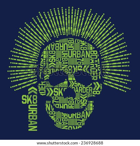 Skull skate board typography, t-shirt graphics, vectors - stock vector