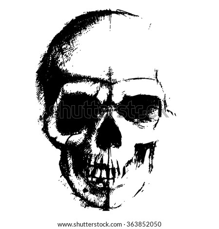 Skull sketch element isolated on white background - stock vector