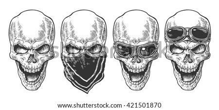 Skull smiling or with bandana and glasses on forehead or eyes. Black vintage vector illustration. For poster and tattoo biker club. Hand drawn design element isolated on white background - stock vector