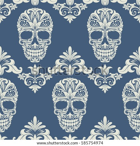 Skull Swirl Decorative Pattern - stock vector
