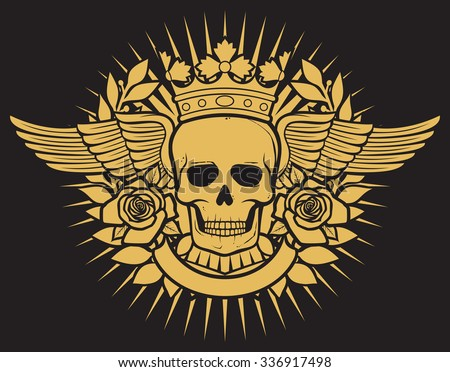 skull symbol - skull tattoo design (crown, laurel wreath, wings, roses and banner) - stock vector
