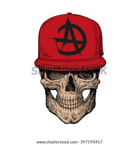 Skull teenager, fashion style. Hand drawn vector illustration