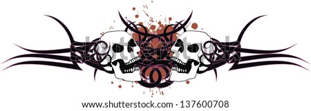 skull tribal tattoo in vector format very easy to edit
