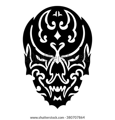 Skull tribal tattoo. Vector illustration