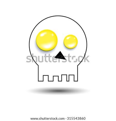 skull vector dead skeleton halloween illustration cartoon - stock vector