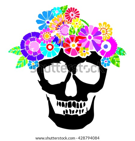 skull vector dead skeleton halloween illustration, flower