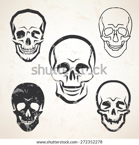 skull vector sketches set in different styles - stock vector