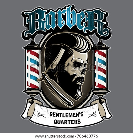 Skull Vintage Barbershop Logo Template Vector Stock Vector ...