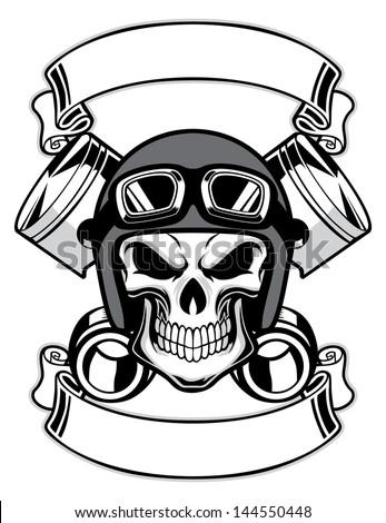 skull wearing retro motorbike helmet - stock vector