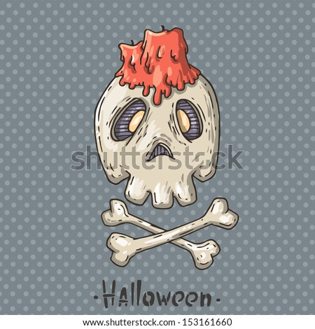 skull with a candle - stock vector
