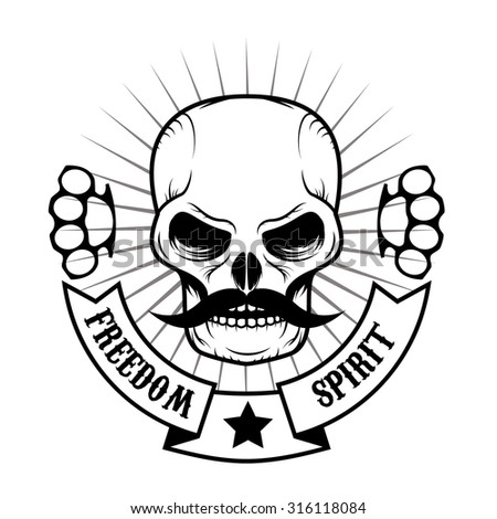 skull with a mustache vector illustration. Fight club logo. Martial arts.